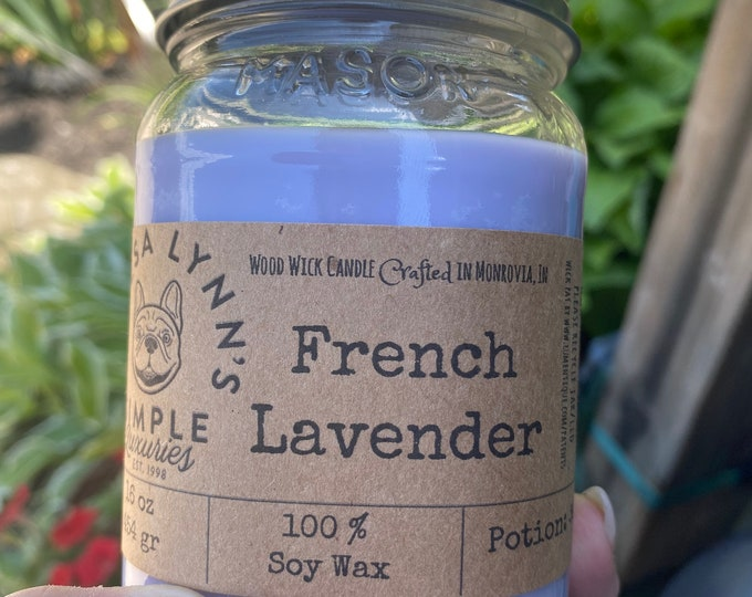 French lavender, candle, wood wick, woodwick, soy candle, artisan candle, aromatherapy, essential oil, responsibly sourced, anxiety relief