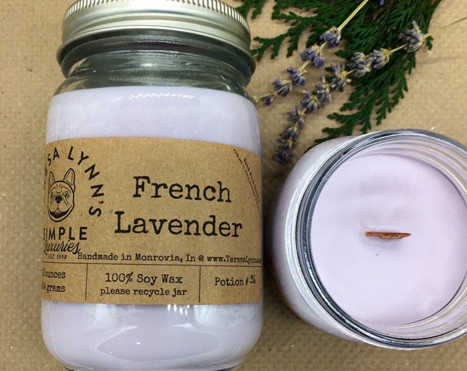 French lavender candle | wood wick candle | soy wax candle | handmade candle | aromatherapy candle | wax melts | french bulldog | woodwick