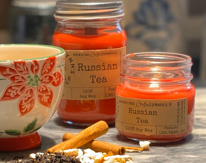 Russian Tea, Wood Wick, 100 % pure soy, Mulled Citrus, Black Tea, Artisan, Natural, comforting, Orange Spice, vegan, phthalate free, Tea