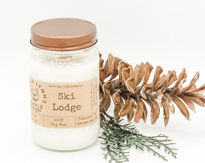 Ski Lodge. wood wick, soy, candle, winter, comforting, cozy, cedar, sandalwood, Amber, spice