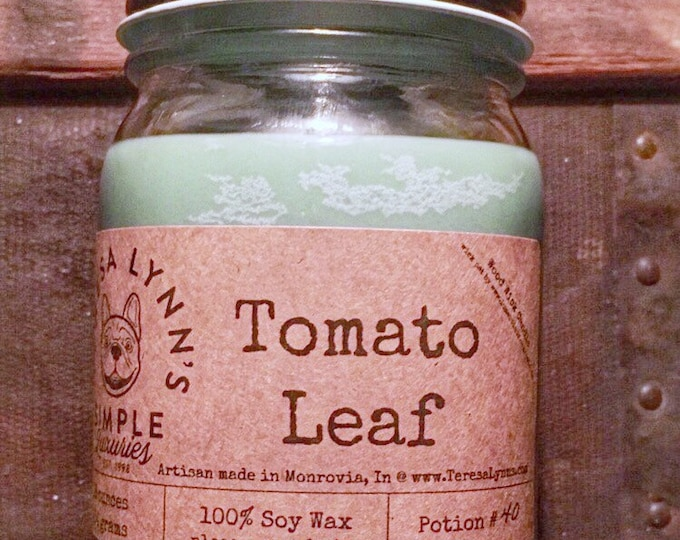 Tomato Leaf scented  | 100% Soy wax | Wood Wick | Phthalate free | Mason jar | french bulldog | Modern farmhouse | herbal candle | garden