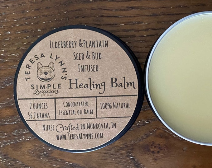 Elderberry, healing balm, plantain, cuticle balm, eczema, dry skin, acne, burn, psoriasis, chapped skin, homeopathic, all natural, bees wax