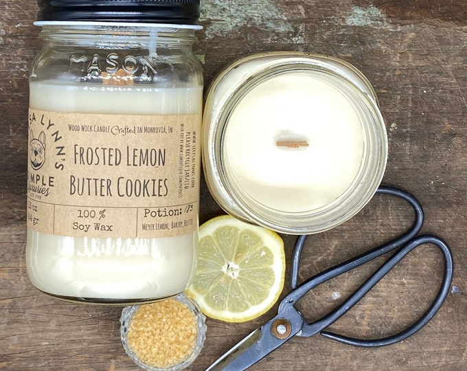 Frosted Lemon Butter Cookie, soy candle, wood wick, wooden wick, lemon, essential oil, handmade, nurse, bakery candle, farmhouse kitchen