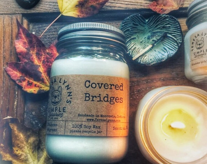 Covered Bridge, fall scented candle, wood wick candle, handmade candle, fall candle, kitchen candle, small batch candle, soy candle, spice