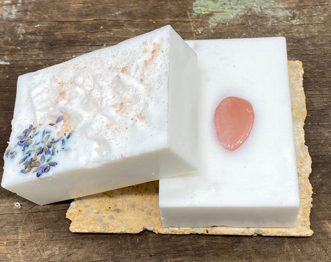 Rose Quartz, Lavender, Himalayan Sea Salt Soap, hand blended soap, coconut cream, Himalayan Sea Salt soap, Zinc Oxide, witchy