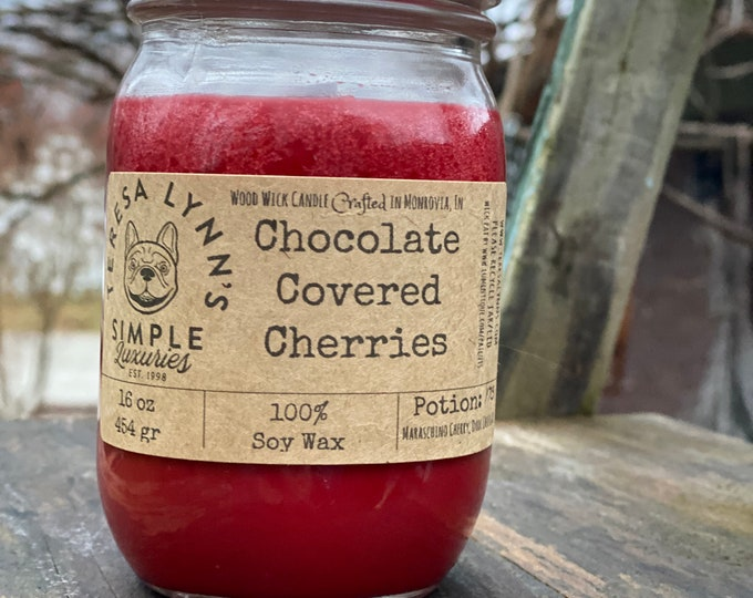 Chocolate covered Cherries, soy candle, wood wick, woodwick, phthalate free, eco friendly, long burning, chocolate candle, cherry candle