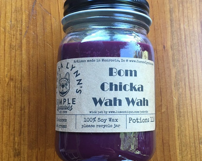 Bom Chicka Wow Wow, sensual candle, Soft scent, wood wick, soy candle, phthalate free, Berry, amber, patchouli, vetiver, musk, purple