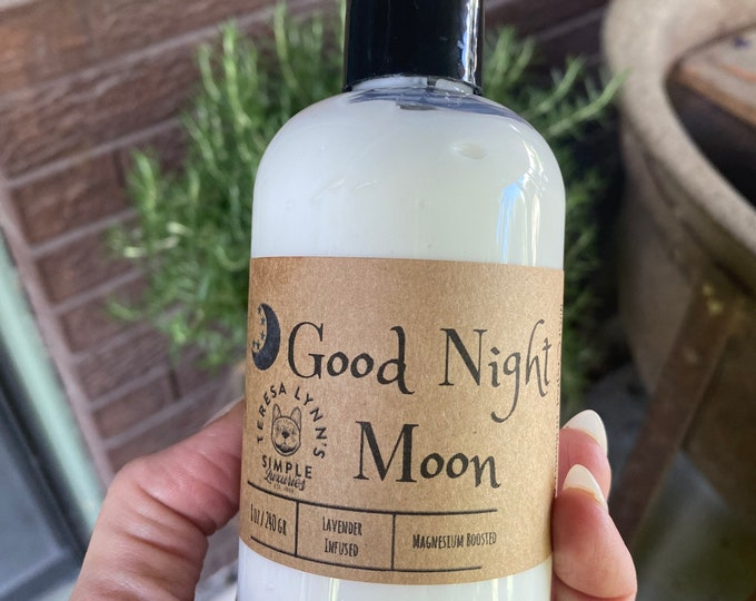 Good Night Moon, Lotion, Anxiety, Self Care, skin repair, alcohol free, coconut oil, luxury, argan oil, Lavender, Tuberose, Heliotrope