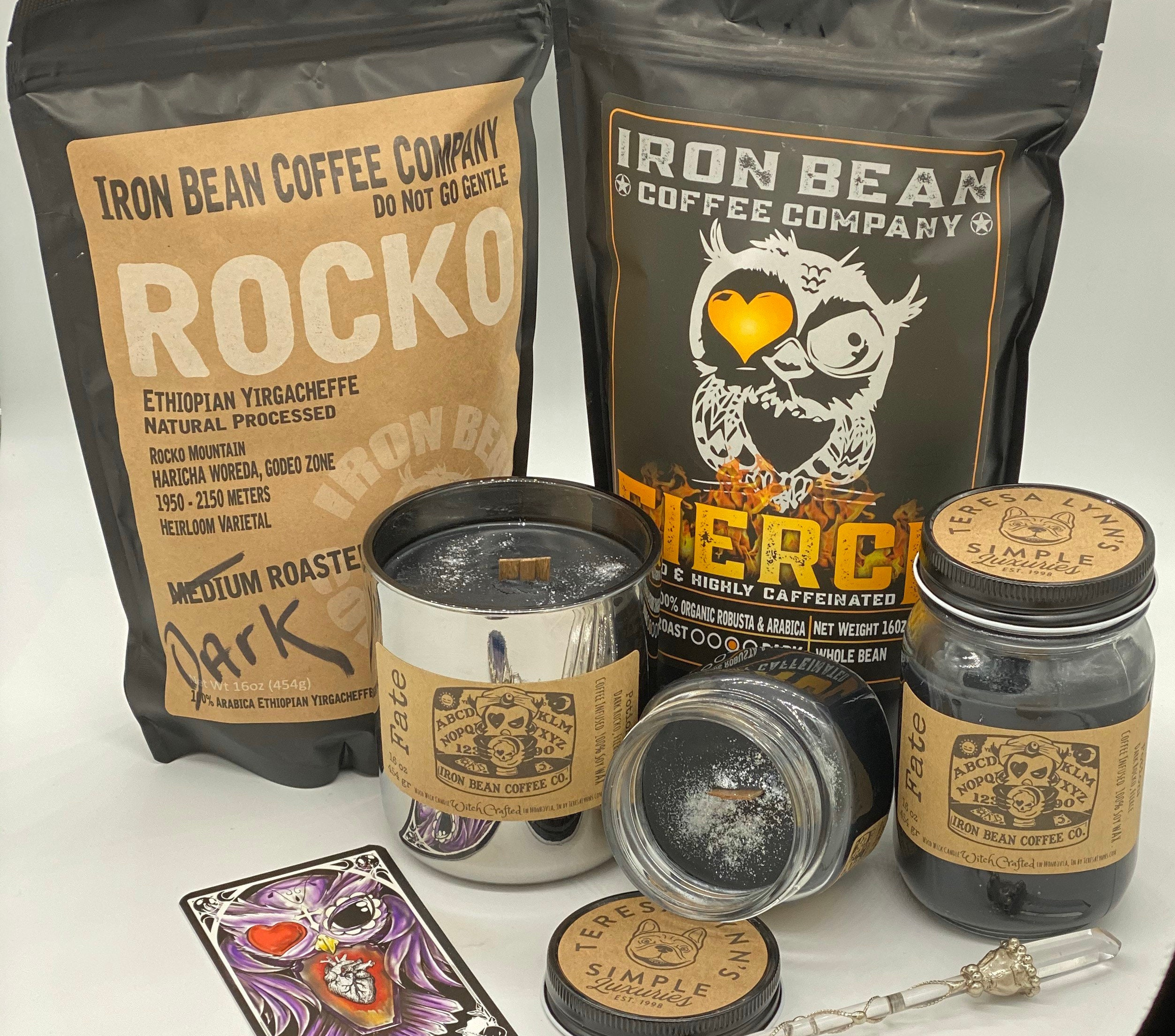 Fate, coffee candle, scrying candle, mystic, iron bean ...