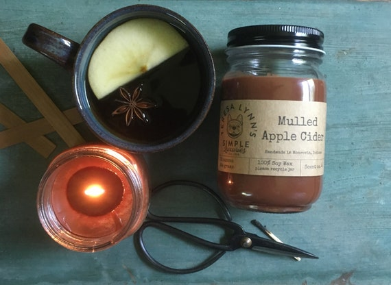 Mulled Apple Cider, Cider Candle, Wood Wick candle, Soy candle, Fall, Farmhouse, spice, essential oil, cinnamon, soy, witchy, handmade, chic