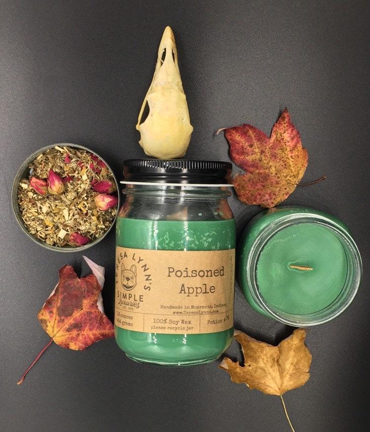 Poisoned Apple, soy candle, wood wick, abundance candle
