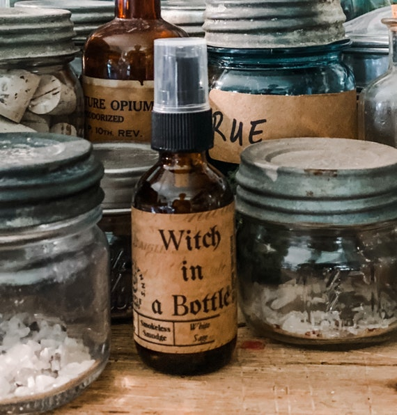 Witch in a bottle, Smudge Spray, cleansing, Sage, Tigers eye, protection spray, negative energy spray, aloe water, Lavender, anxiety relief