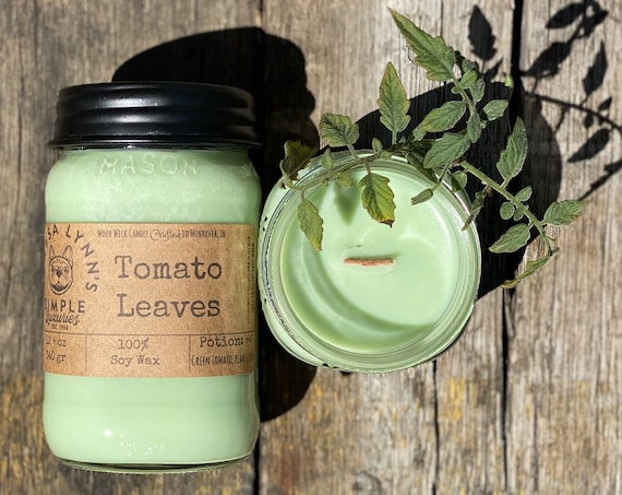 Tomato Leaves, Soy wax, Wood Wick, Phthalate free, Mason jar, french bulldog, farmhouse, garden, herbal candle, wooden wick, natural candle