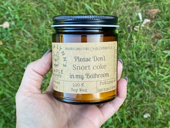 Please don't snort coke,  Bathroom, Peppermint, essential oil, candle, wood wick, soy candle, odor eliminator, eucalyptus, humor, funny