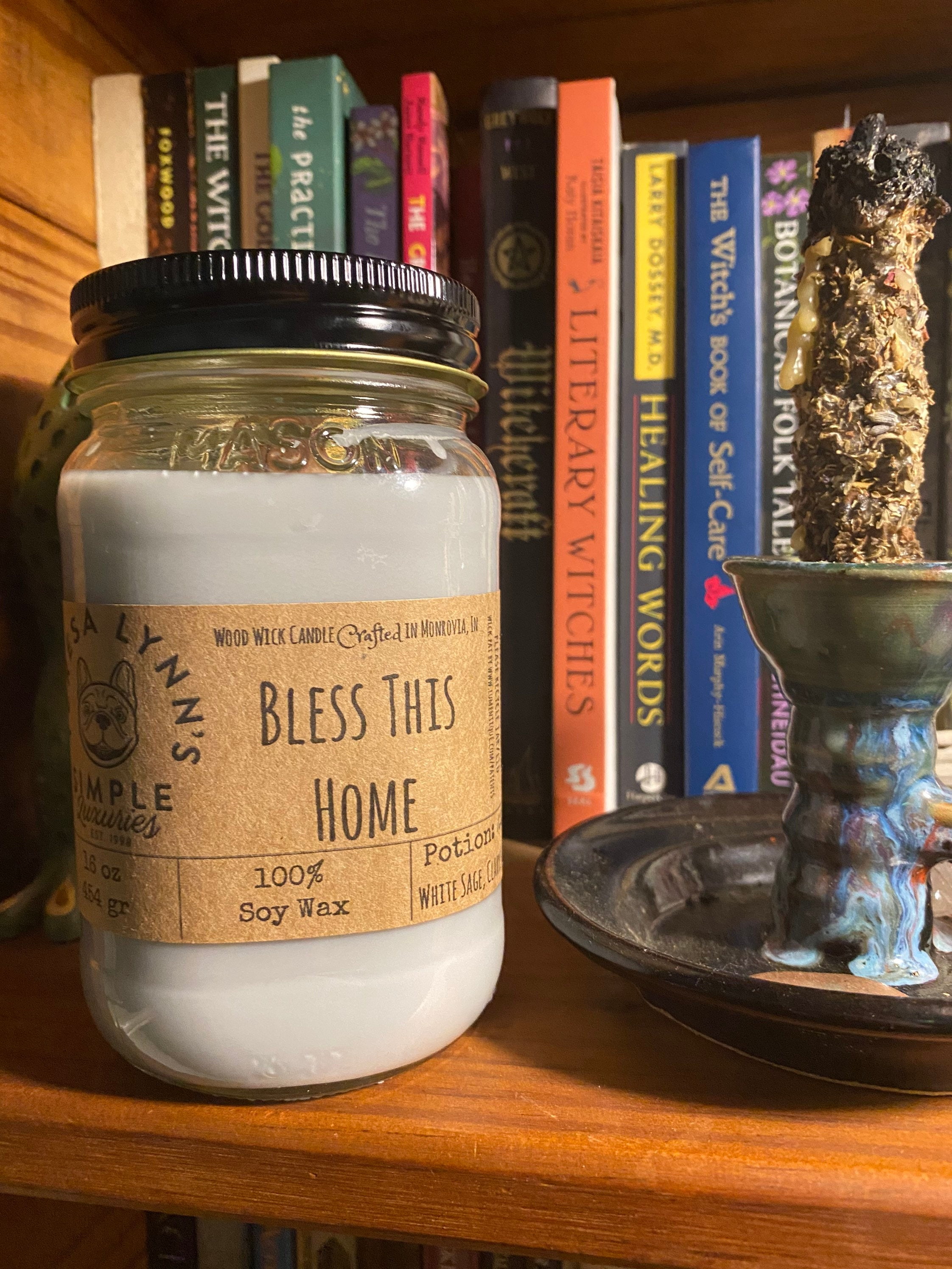 Bless This Home, White Sage, Clary Sage, Sea Salt, Wood