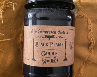 Black Flame Candle, Wood Wick, 100 % soy candle, Fall, Pumpkin, Chai Spice, autumn, phthalate free, Halloween, Sanderson sisters