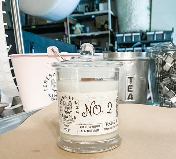 No .2, Peppermint, essential oil, candle, bathroom, wood wick candle, soy candle, odor eliminator, peppermint, vanilla, eucalyptus, vanilla