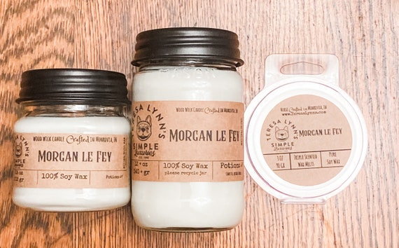 Morgan le Fay, wood wick, wooden wick, soy candle, luxury candle, halloween, witch, patchouli, jasmine, oad, frankincense, myrrh, ember