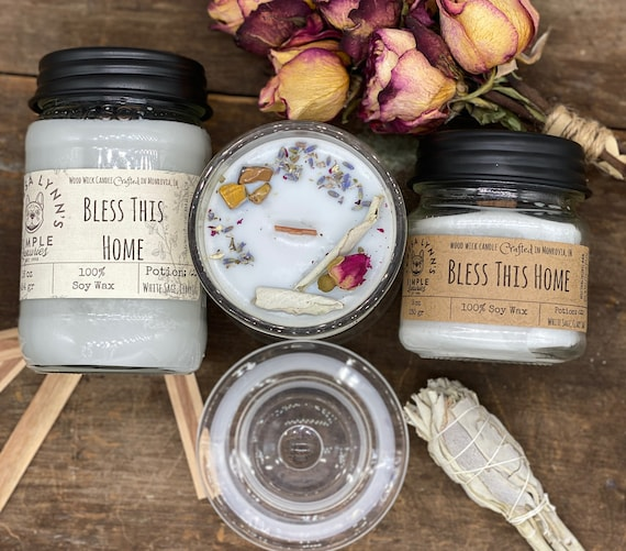 Bless This Home, White Sage, Clary Sage, Sea Salt, Wood Wick, Soy Wax, reusable container, housewarming, blessing candle, lavender, witch