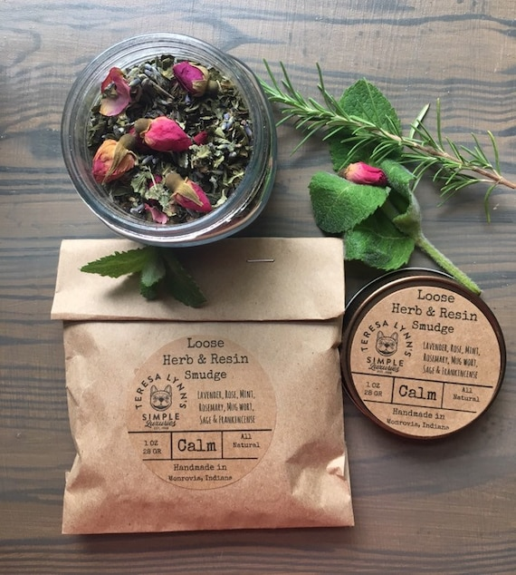 Loose incense, smudge, calm, roses, mint, lavender, mugwort, rosemary, lemon balm, damiana leaf, chamomile, ritual, self care, meditation