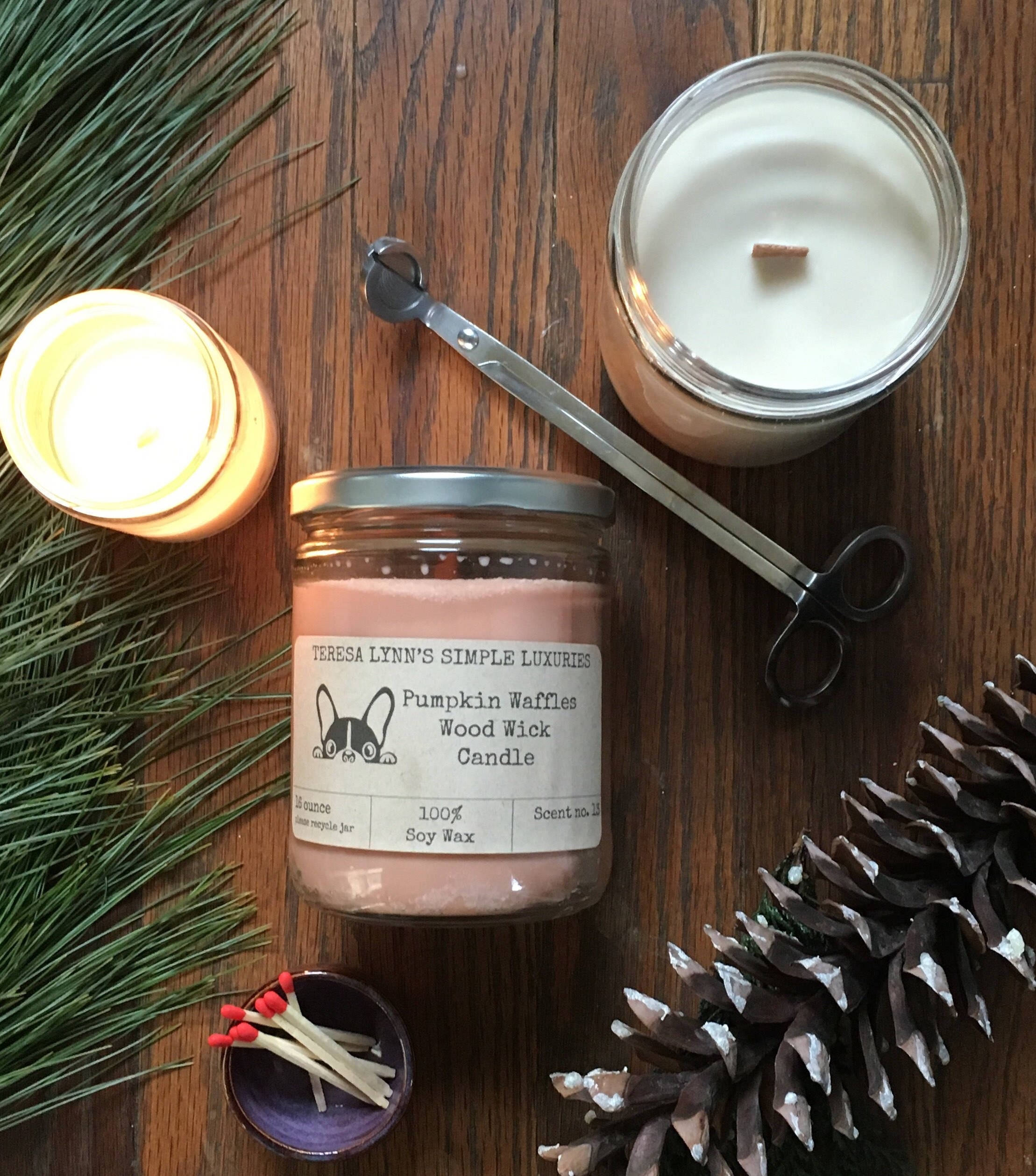 Pumpkin waffles wood wick candle pumpkin pie scented candle glass jar handmade long burning candle soy wax candle