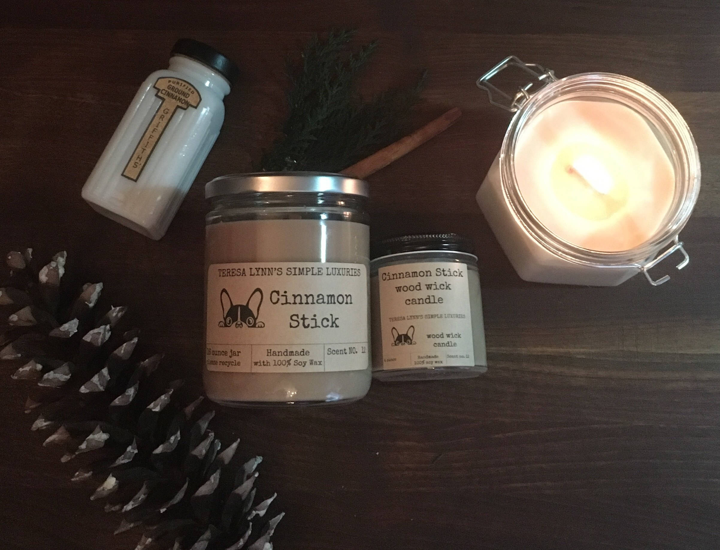 Cinnamon Stick scented   wood wick   soy candle   pure midwest soy