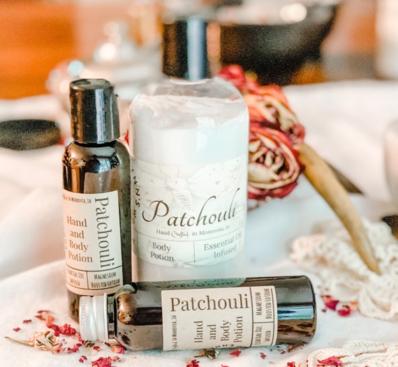 Patchouli, Lotion, Self Care, skin repair, alcohol free, coconut oil, luxury, argan oil, magnesium, essential oil
