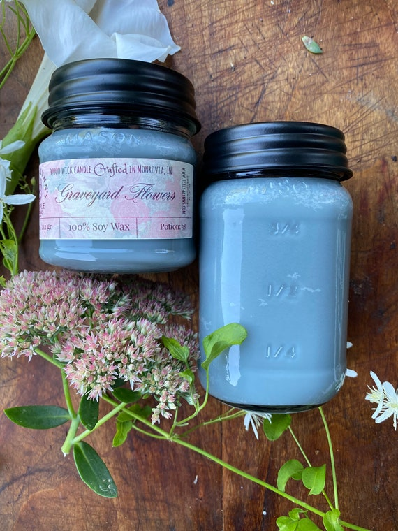 Graveyard flowers | floral scented candle | wood wick candle | soy wax candle | handmade candle | aromatherapy candle | wax melts