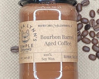 Bourbon Barrel Aged Coffee, candle, wood wick, Woodwick, Soy Candle, Bourbon, Oak, lodge, Winter, cinnamon, embers, barrel aged, cabin, bean