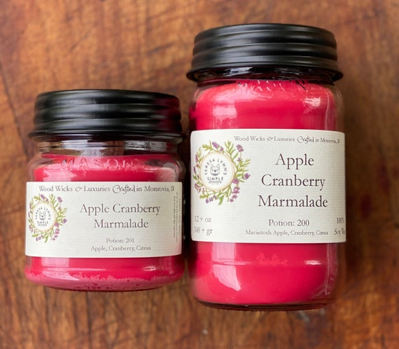 Apple Cranberry Marmalade, soy candle, wood wick, wooden wick, cranberry, candle, foodie, apple, fall candle, farmhouse, farm house, luxury
