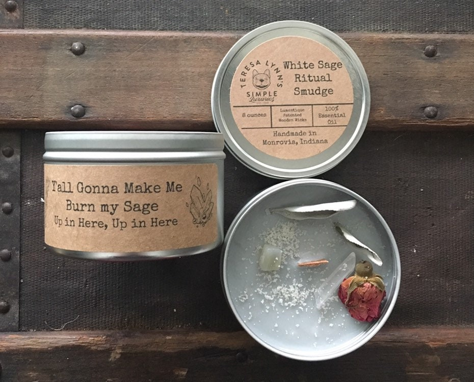 Sage, selenite, Smudge, White sage, ritual candle, essential oil