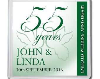 Personalised 55th Emerald Wedding Anniversary Drinks Coaster Gift Present