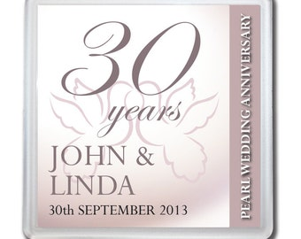 Personalised 30th Pearl Wedding Anniversary Drinks Coaster Gift Present