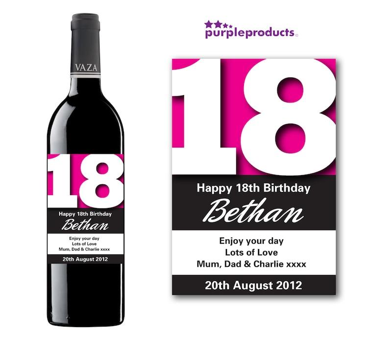 Poważne Spersonalizowane różowe 18 urodziny wino szampan/Prosecco i   Etsy ZV98