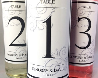Personalised Wedding Day Table Number Wine Bottle Labels - Design 1
