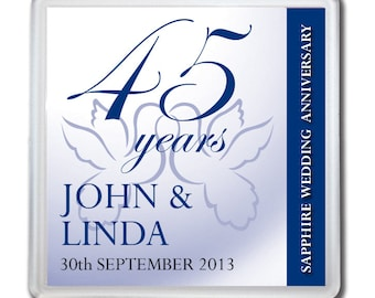 Personalised 45th Sapphire Wedding Anniversary Drinks Coaster Gift Present