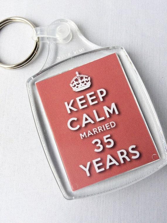 houd kalm 35e koraal verjaardag getrouwd 35 jaar keyring | etsy