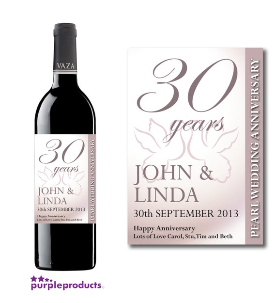 * 30 ANNIVERSARY * Bottle Label//Bottle Sticker Pearls Wedding