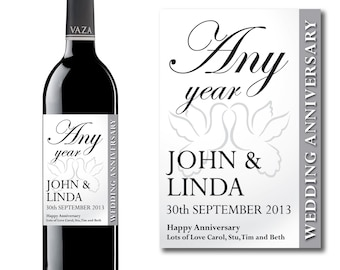 Personalised Any Wedding Anniversary Wine & Champagne Bottle Gift Present Label
