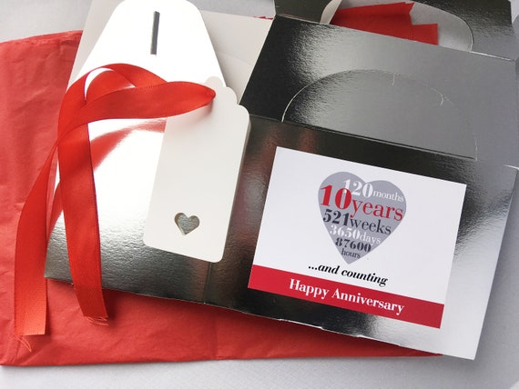 10 Years Silver Metallic Empty Card Gift Box Tag Paper 10th Wedding Anniversary