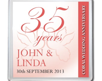 Personalised 35th Coral Wedding Anniversary Drinks Coaster Gift Present