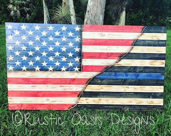 American Flag | Blue Line Flag | Law Enforcement Flag | Police Decor | Blue Line Decor | Pallet Flag | Wooden Flag | Stained Flag