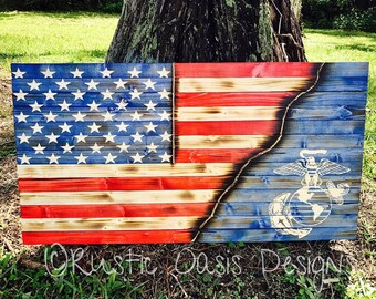 American Flag | Marine Flag | Pallet Flag | Rustic Flag | Marine Corps | Patriotic Flag