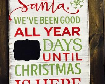 Dear Santa Sign | Santa Countdown Sign | Christmas Countdown Sign | Christmas Sign | Merry Christmas