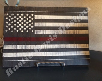 Thin Red Line Distressed Flag | Firefighter Sign | Thin Red Line Signs