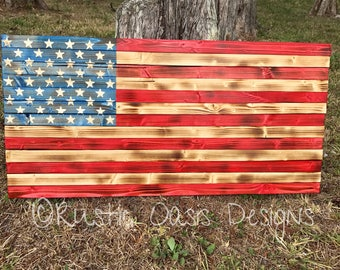 American Flag | Wooden Flag | Rustic Flag | Stained Flag