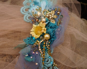 Nereid - Fairy bold brooch Blue boho jewerly Fairy wedding brooch Victorian brooch Hand beaded mixed media brooch Bohemian artsy lace pin