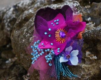 Ariel, victorian inspired beaded brooch, textile woman accessory,lace brooch, fancy textile brooch, flower brooch,magenta brooch colourflul