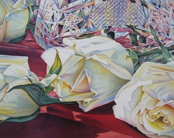Shades of Beauty - Rose Floral Watercolor Art Print - Rose Art Rose Print