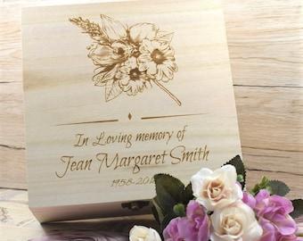 Personalised Floral Remembrance Keepsake Box Memorial Box Engraved In Memory